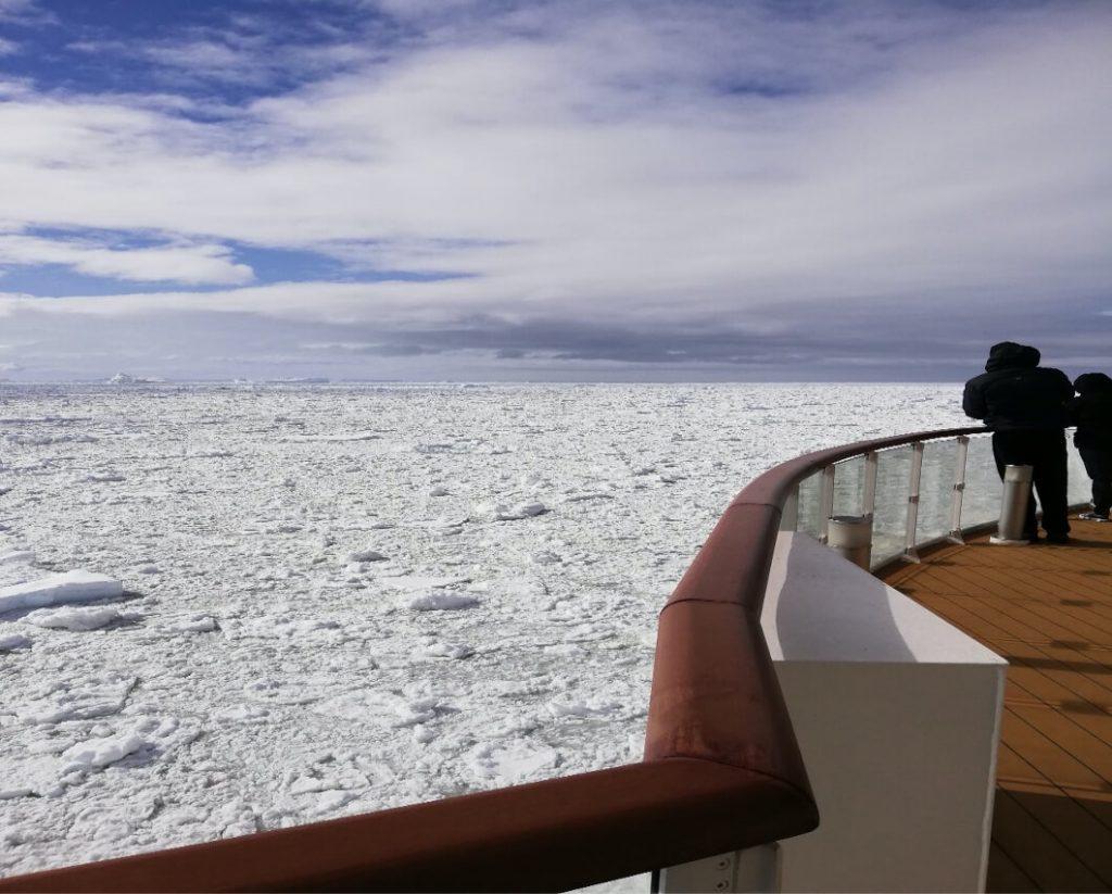 Sailing through an ice field