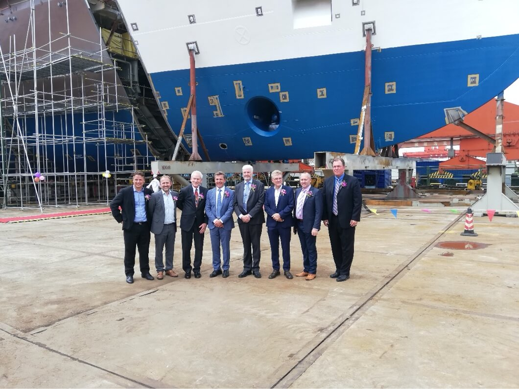The keel laying of the M.V. Ocean Victory.